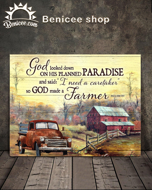 BENICEE Farming God made a Farmer Countryside Landscape Farm house OOP Wall Art Canvas-canvas-Benicee