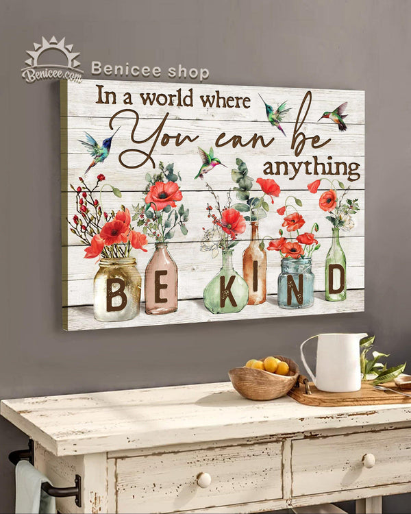 BENICEE Hippie BEKIND Hummingbirds & Red Poppy Wall Art Canvas-canvas-Benicee