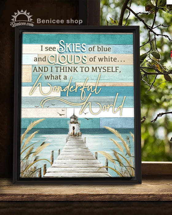 BENICEE Beach House Framed Canvas Art What a wonderful world Top 3 Home Decor