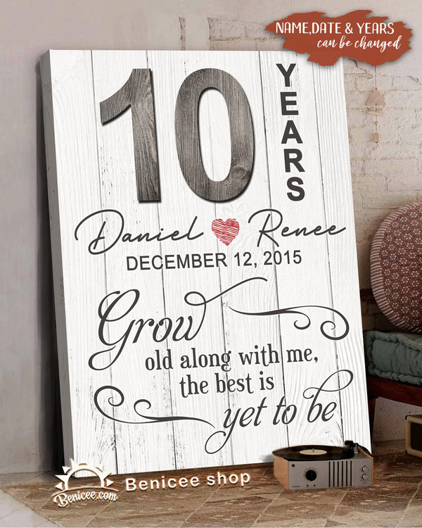 Personalized Valentine Gift Art Canvas Grow Old Gray Version Top 10 BENICEE-Canvas Print-Benicee