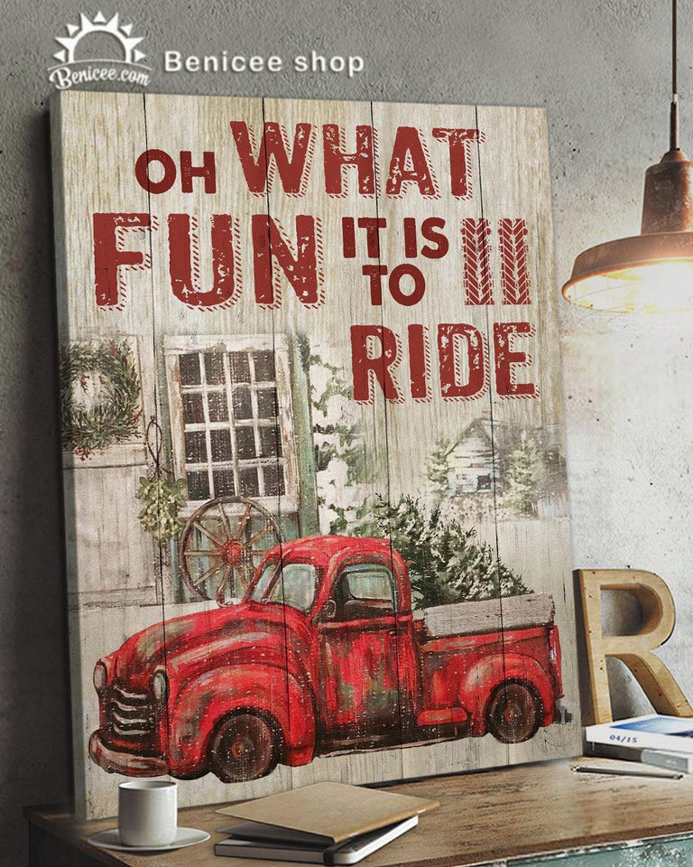 BENICEE Top 3 Christmas Wall Art Canvas - Oh what fun it is to Ride Red Truck-Canvas Print-Benicee