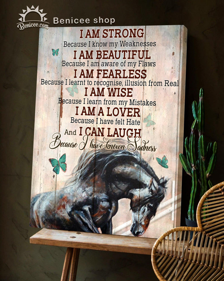 BENICEE Horse I am strong Horse sign Motivation quote Wall Art Canvas-canvas-Benicee