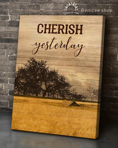 BENICEE Top 3 Farmhouse Wall Art Canvas Decor - Cherish Yesterday Panel 1 - Yellow Barn-Canvas Print-Benicee