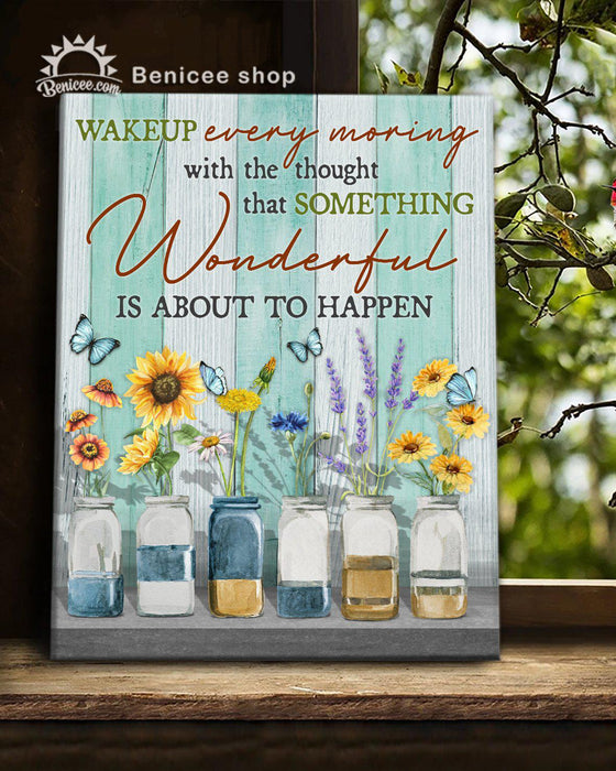 BENICEE Hippie Canvas Wall Art Wonderful Is About To Happen Flower-Canvas Print-Benicee