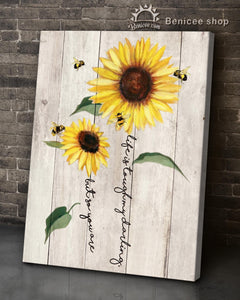 BENICEE Sunflower and Bee Vintage Wood Wall Art Canvas - Life Is Tough My Darling But So You Are-canvas-Benicee