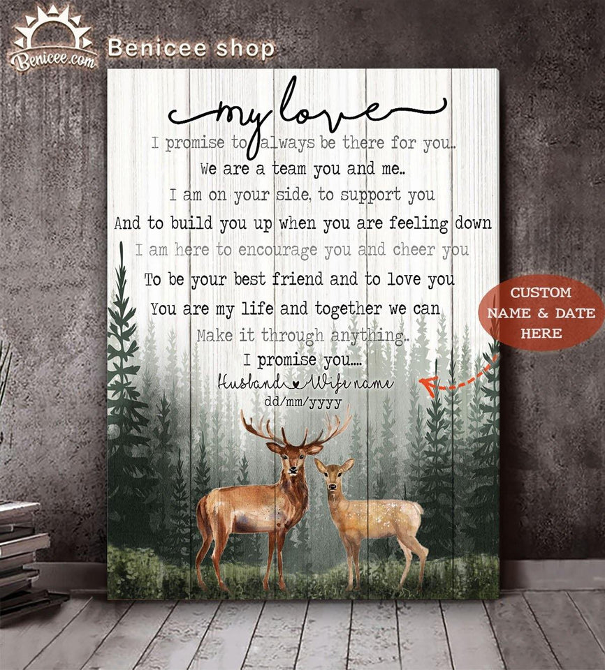 Personalized Anniversary Gift My Love Promise You Buck Top 15 BENICEE-canvas-Benicee