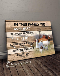 BENICEE Farm In This Family Boer Goats Wall Art Canvas-canvas-Benicee