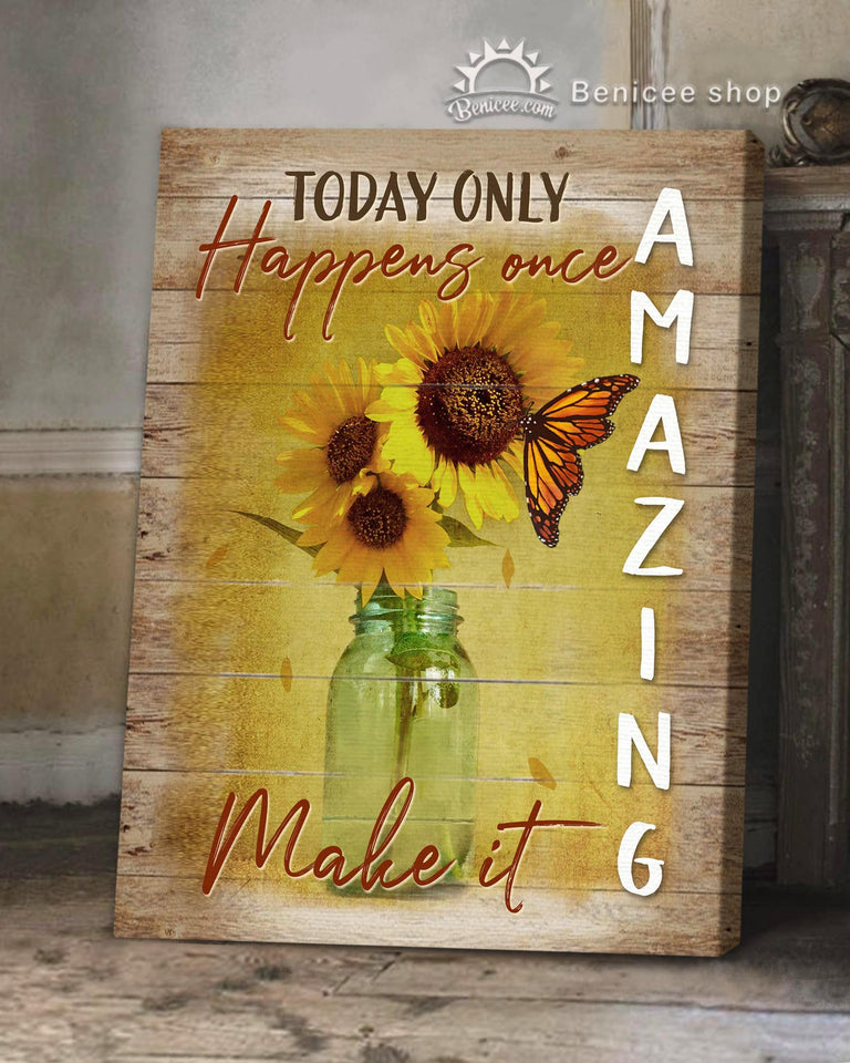 BENICEE Hippie Flower Style Sunflower Wall Art Canvas - Today Only Happens Once Make It Amazing-canvas-Benicee