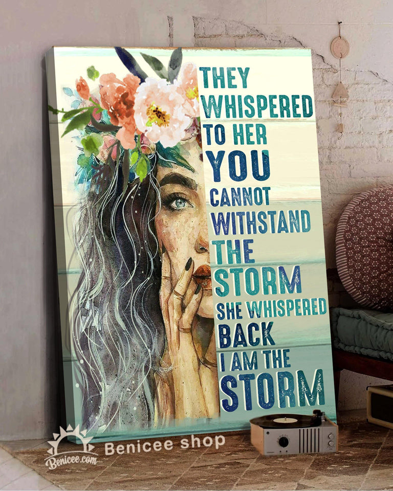 BENICEE Top 5 Hippie Style Wall Art Canvas - She Whispered Back I Am A Storm Beautiful Girl Version-Canvas Print-Benicee