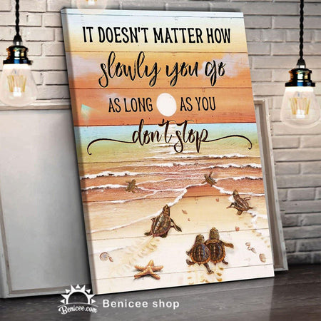BENICEE Beach House Decor Framed Canvas/ Wrapped Turtle Don't Stop-Framed Canvas, Canvas Print-Benicee