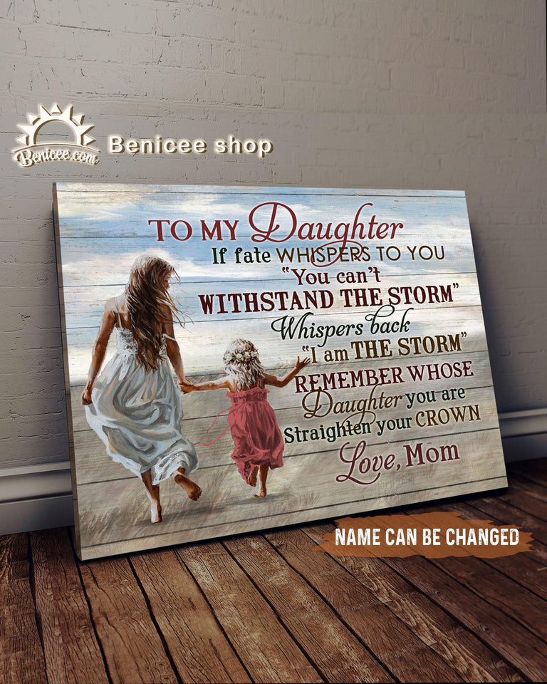 BENICEE Top 10 Gift For Daughter - Custom Name To my daughter if fate whispers to you Wall Art Canvas-canvas-Benicee