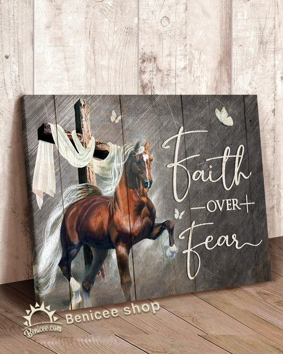 BENICEE Horse Decor Wall Art Canvas Decor Faith Over Fear Cross Art Top 3 Home Decor-Canvas Print-Benicee
