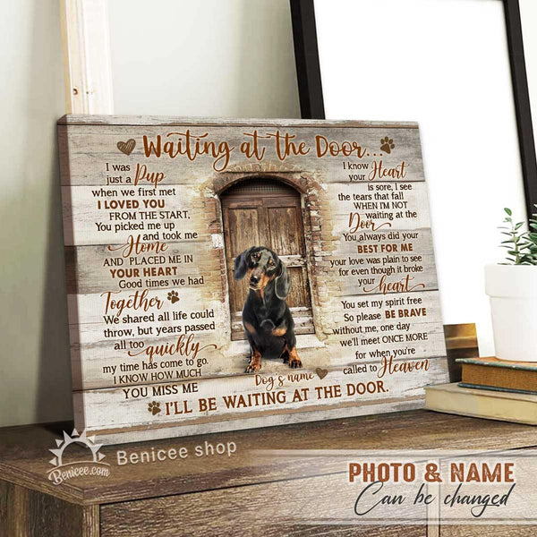 BENICEE Personalized Pet Gift Wall Art Canvas Waiting at the Door I was just a Pup Top 3 Loss Pet Gift-Framed Canvas, Canvas Print-Benicee
