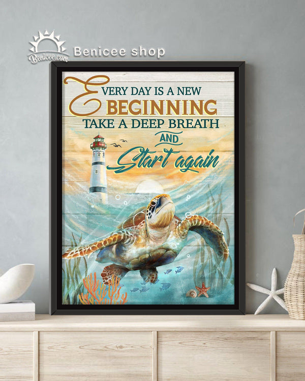 BENICEE Turtle Framed Canvas Every Day Is A New Beginning Start Again-Framed Canvas-Benicee