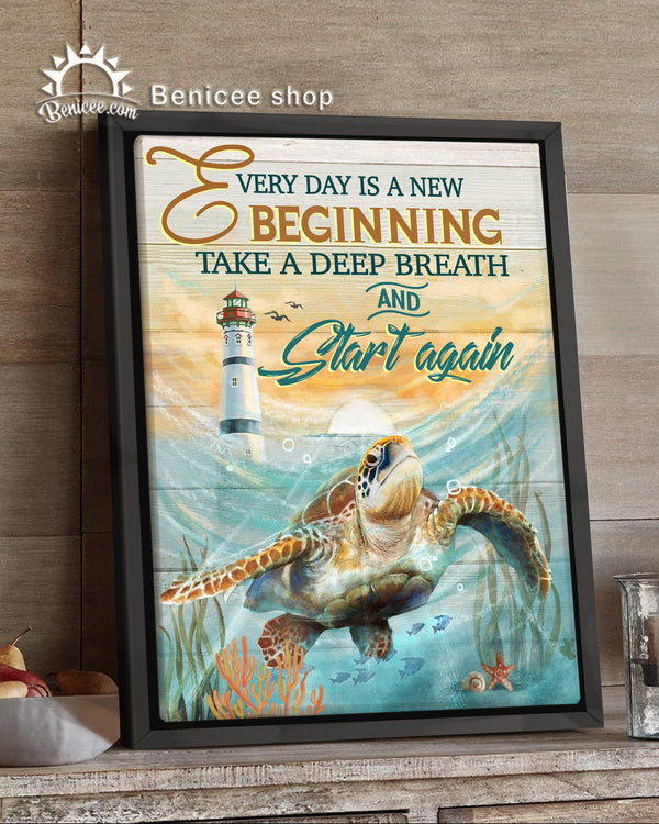 BENICEE Turtle Framed Canvas Every Day Is A New Beginning-Framed Canvas-Benicee