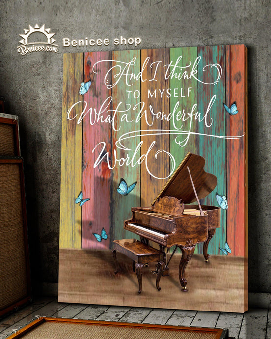 BENICEE Music Piano Wonderful world OOP Wall Art Canvas-Canvas Print-Benicee