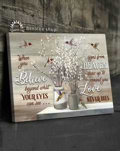Memorial Gift Canvas - Heaven Love Never Dies Hummingbirds Version Top 5 BENICEE-canvas-Benicee