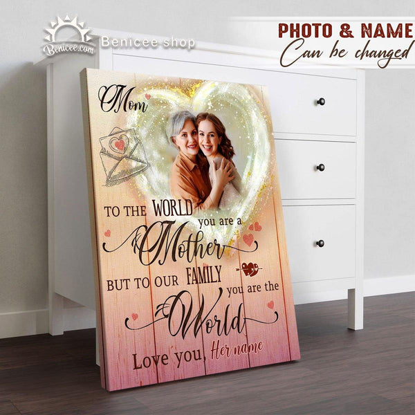 BENICEE Personalized Mother's Gift Wall Art Canvas For Our Family You're The World-Framed Canvas, Canvas Print-Benicee