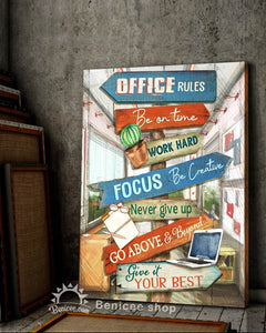 BENICEE Office rules Office signs Wall Art Canvas-canvas-Benicee
