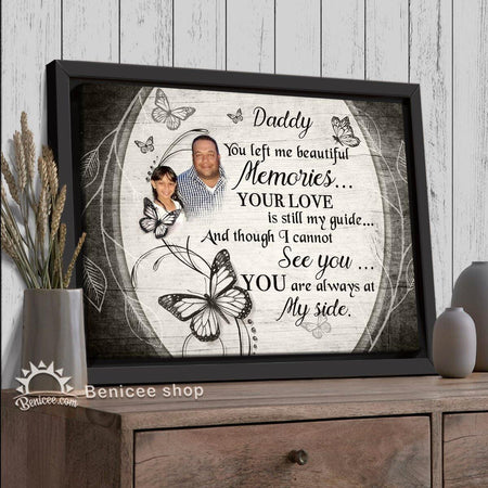 Personalized Memorial Gift Wall Art Canvas You left me beautiful memories Butterfly Version Top 5 At Benicee-Framed Canvas-Benicee