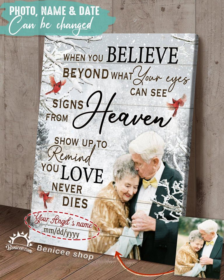 Personalized Memorial Gift Canvas Art When You Believe Cardinals & Winter Version Top 5 BENICEE-canvas-Benicee