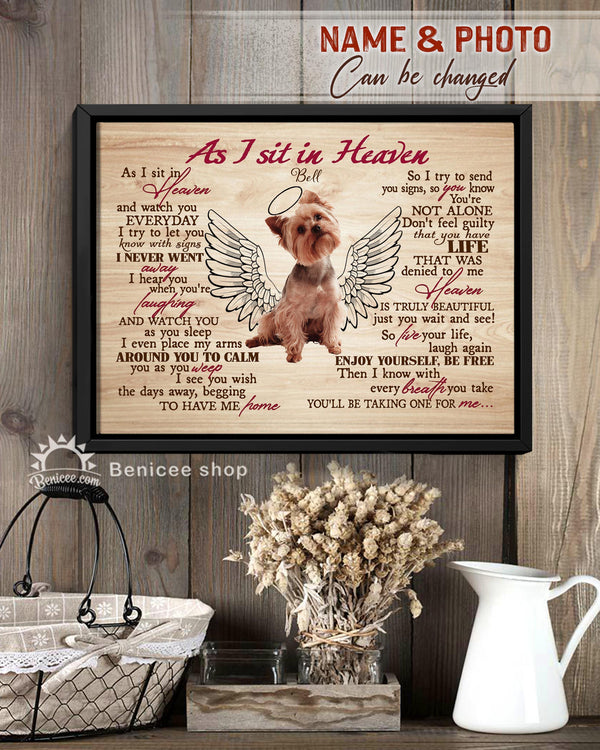 BENICEE Personalized Pet Gift Frame Canvas Wall Art As I sit in Heaven Top 3 Home Decor-Framed Canvas-Benicee