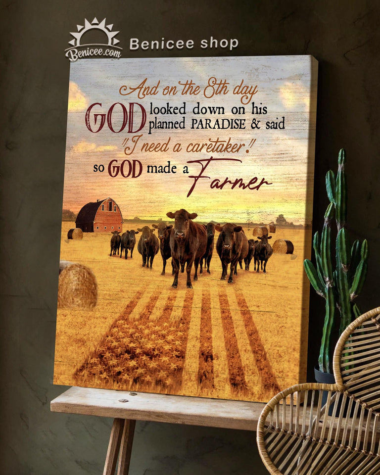 BENICEE Farming American flag God made a farmer Black angus signs Wall Art Canvas-canvas-Benicee