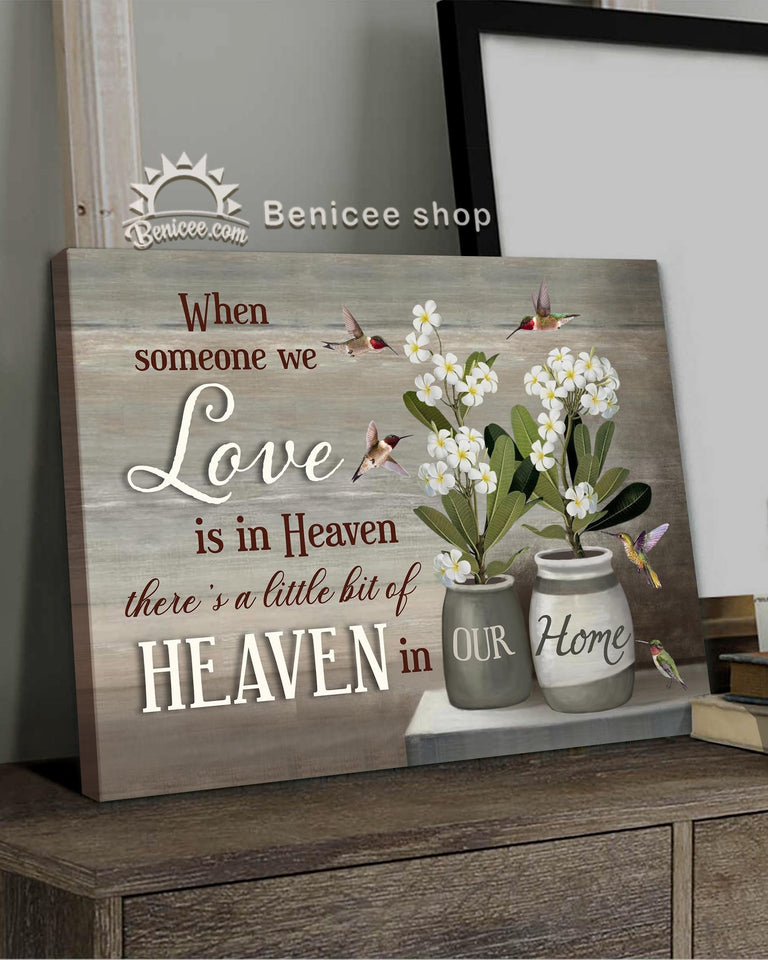 Memorial Gift Canvas Heaven Hummingbirds & Frangipani Flowers Top 5 BENICEE-canvas-Benicee