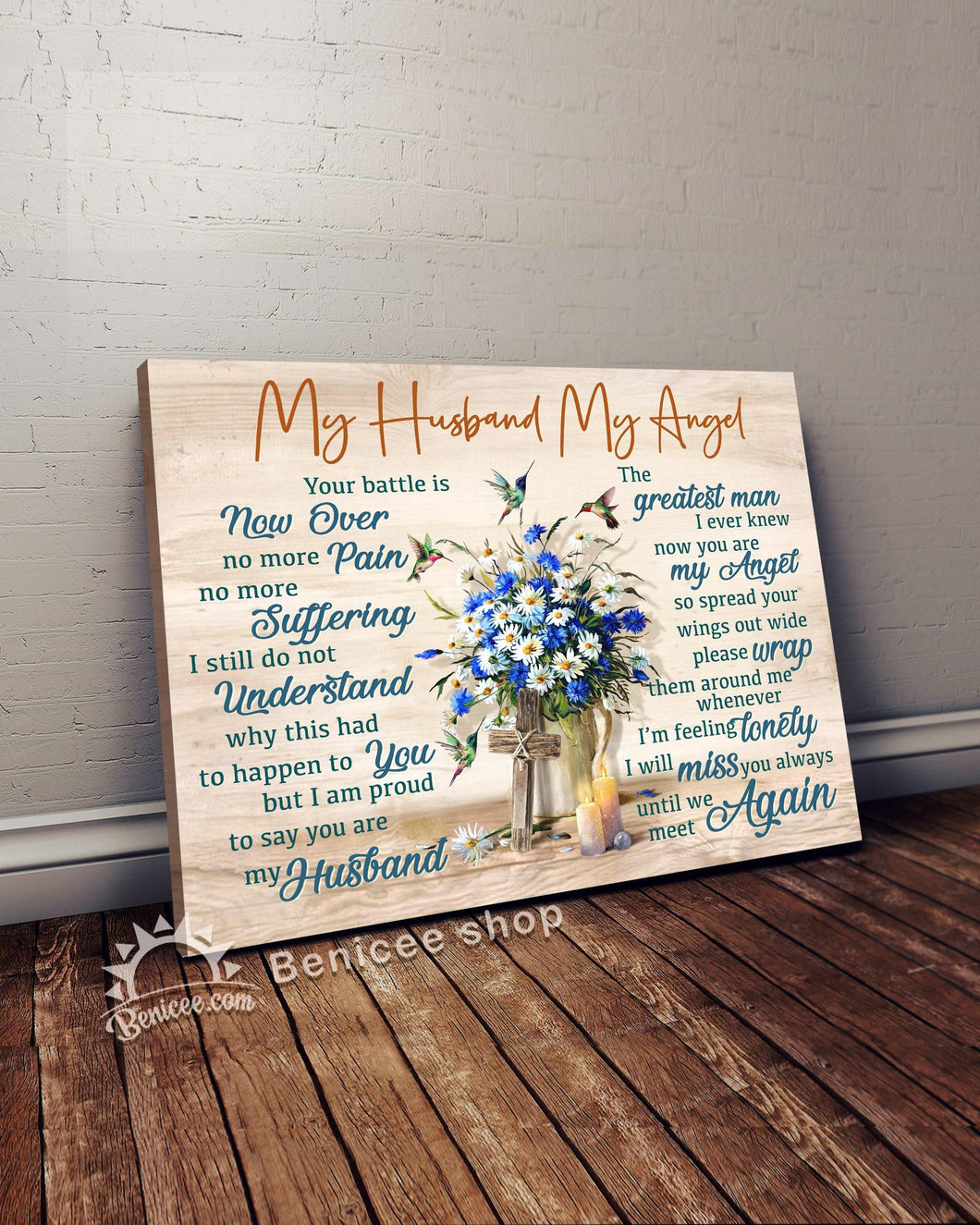 Personalized Memorial Gift Canvas Heaven Hummingbirds My Husband Top 5 BENICEE-canvas-Benicee