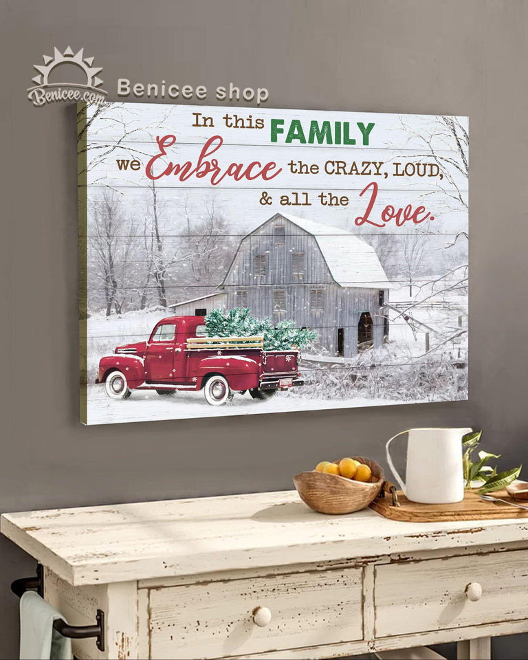 BENICEE Top 10 Christmas Canvas, Farm In This Family We Embrace The Crazy Wall Art Canvas-canvas-Benicee