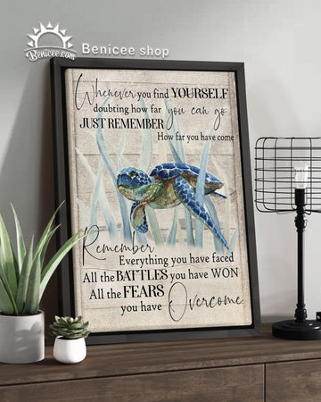BENICEE Turtle Framed Canvas Ocean Whenever You Go OOP Wall Art Canvas