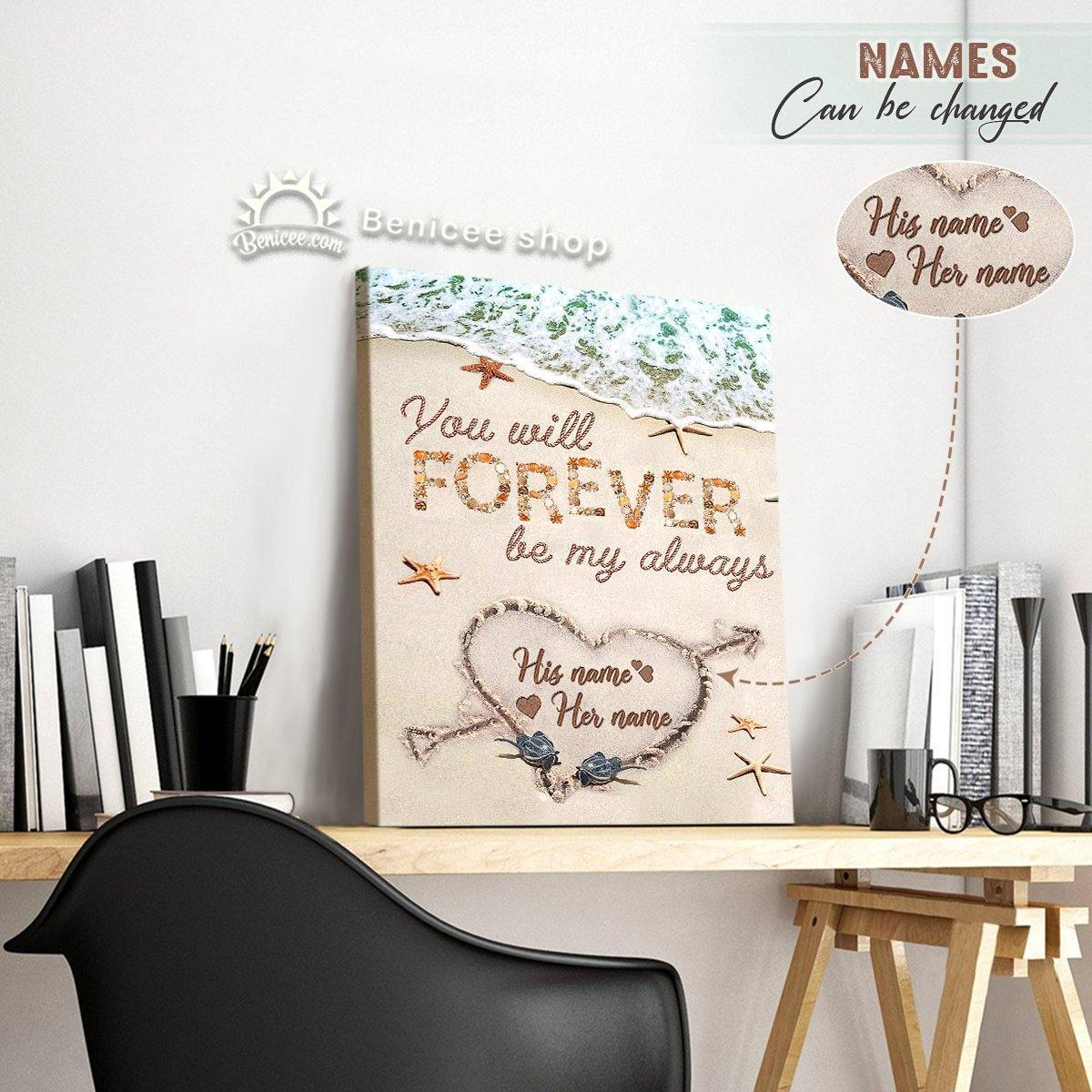 Personalized Coastal Wall Art Framed/Wrapped Canvas Forever Be My Always Top 10 Heart Sand BENICEE