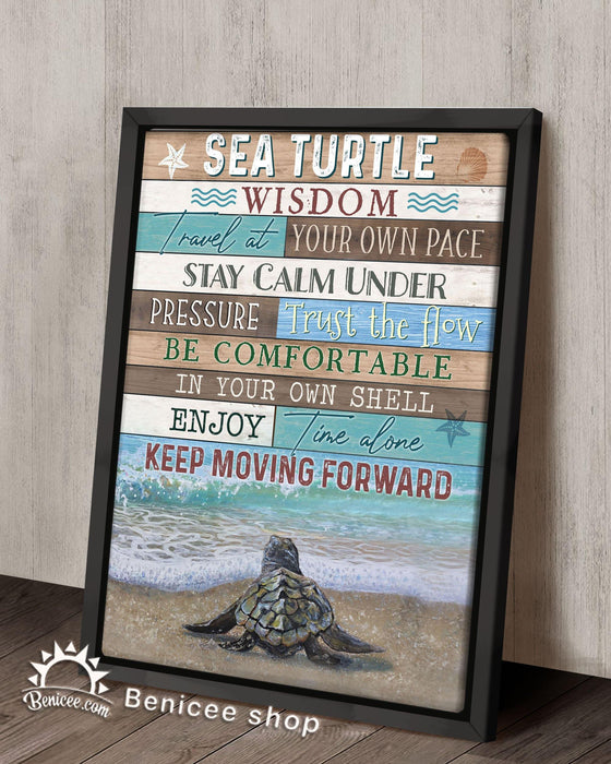 BENICEE Top 10 Turtle Framed Canvas turtle wisdom travel at your own pace gray