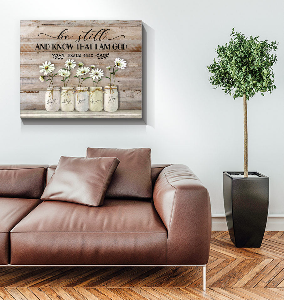 BENICEE Jesus Be Still Daisy Flower Wall Art Canvas-canvas-Benicee