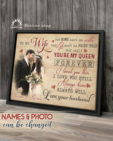 BENICEE Personalized Gift Frame Canvas Wall Art You are my Queen Top 3 Home Decor-Framed Canvas-Benicee