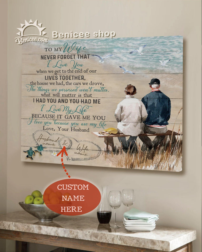 Personalized Anniversary Gift Wall Art Canvas To My Wife Never Forget Ocean Top 10 At BENICEE-canvas-Benicee