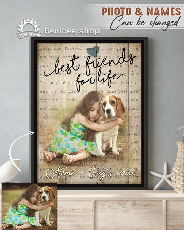 BENICEE Personalized Pet Gift Frame Canvas Wall Art Best Friend for Life Top 3 Home Decor-Framed Canvas-Benicee