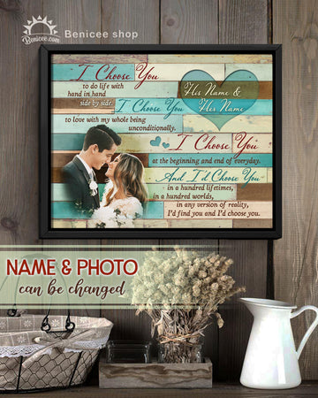 BENICEE Beach house decor Personalized Anniversary Gift Framed Wall Art Canvas I choose you Top 3 Home Decor
