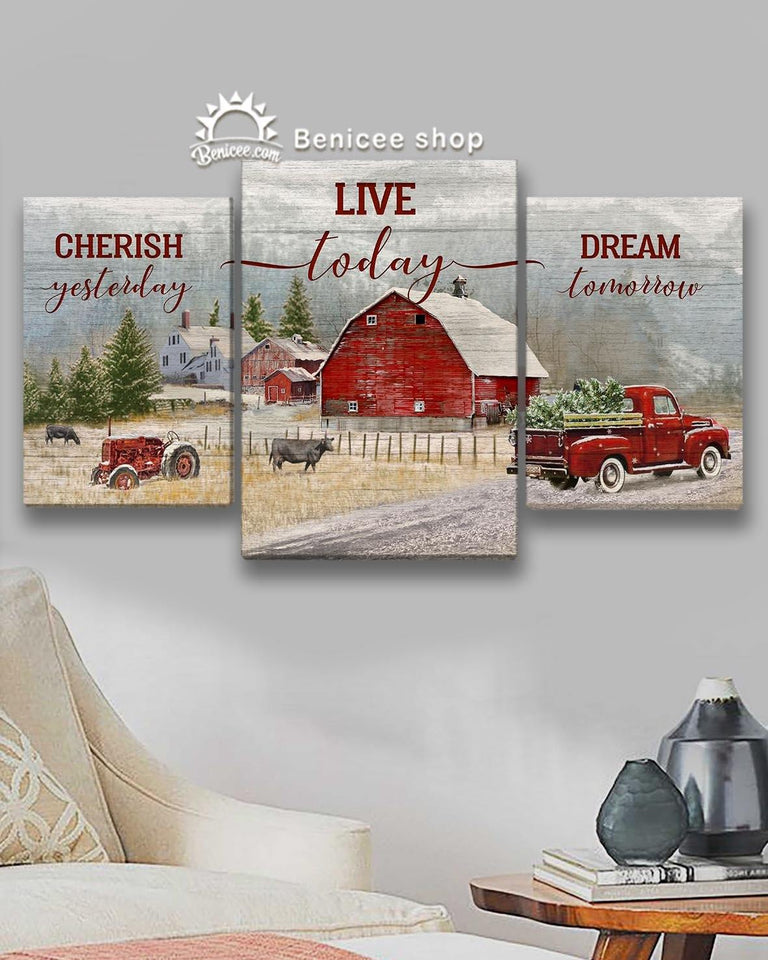 BENICEE 3 Panel Canvas - Top 3 Farmhouse Decoration Canvas - Live Today Christmas-Multi Panel Canvas-Benicee