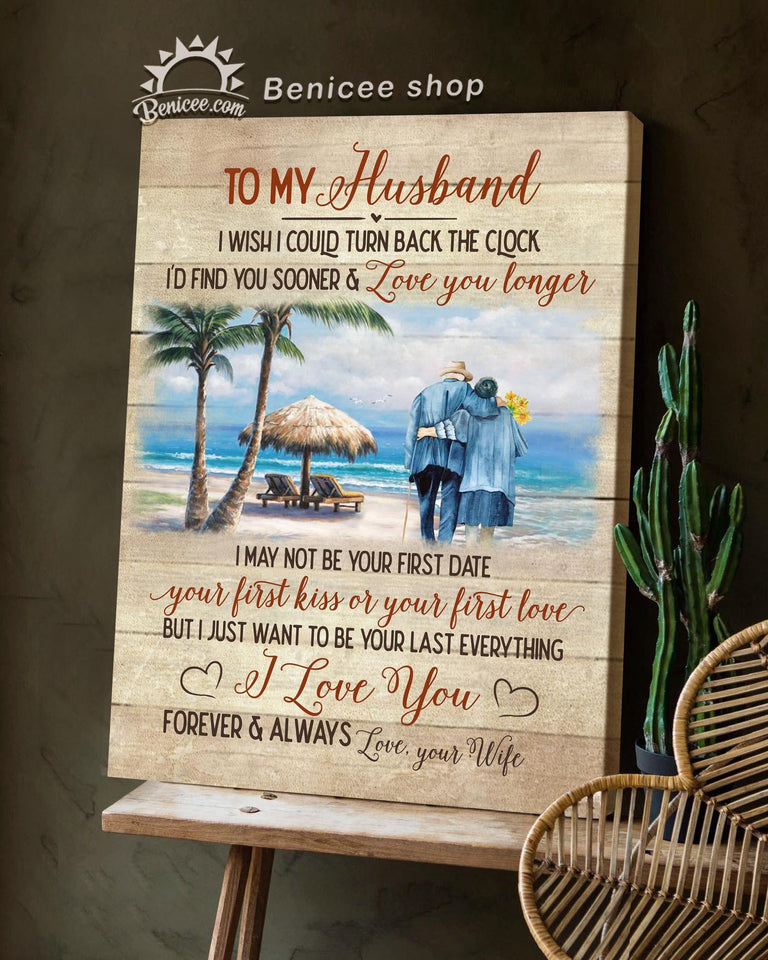 Anniversary Gift For Husband Wall Art Canvas Walking On The Beach Top 15 BENICEE-canvas-Benicee