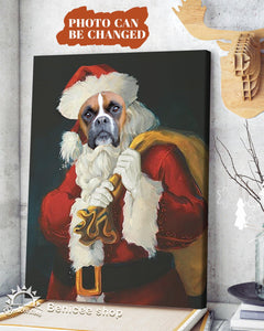 BENICEE Personalized Custom Photo Dog Wall Art Canvas - Christmas Santa Is Coming-canvas-Benicee