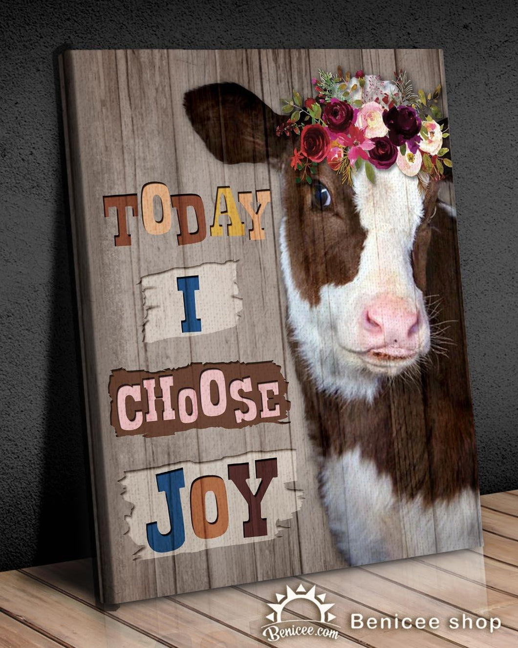 BENICEE Holstein Cow With Flower Wall Art Canvas, Today I Choose Joy Canvas-Canvas Print-Benicee