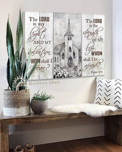 BENICEE Top 10 Farmhouse Church Wall Art Canvas - The Lord Is My Light And My Salvation Whom Shall I Fear-Canvas Print-Benicee