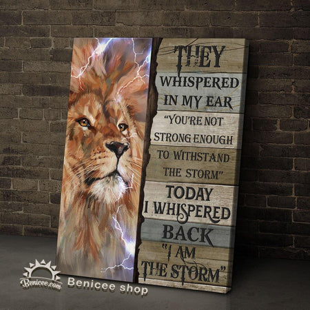 BENICEE Lion Motivation Framed/Wrapped Wall Art Canvas I Am The Storm Top 3 Home Decor-Framed Canvas, Canvas Print-Benicee