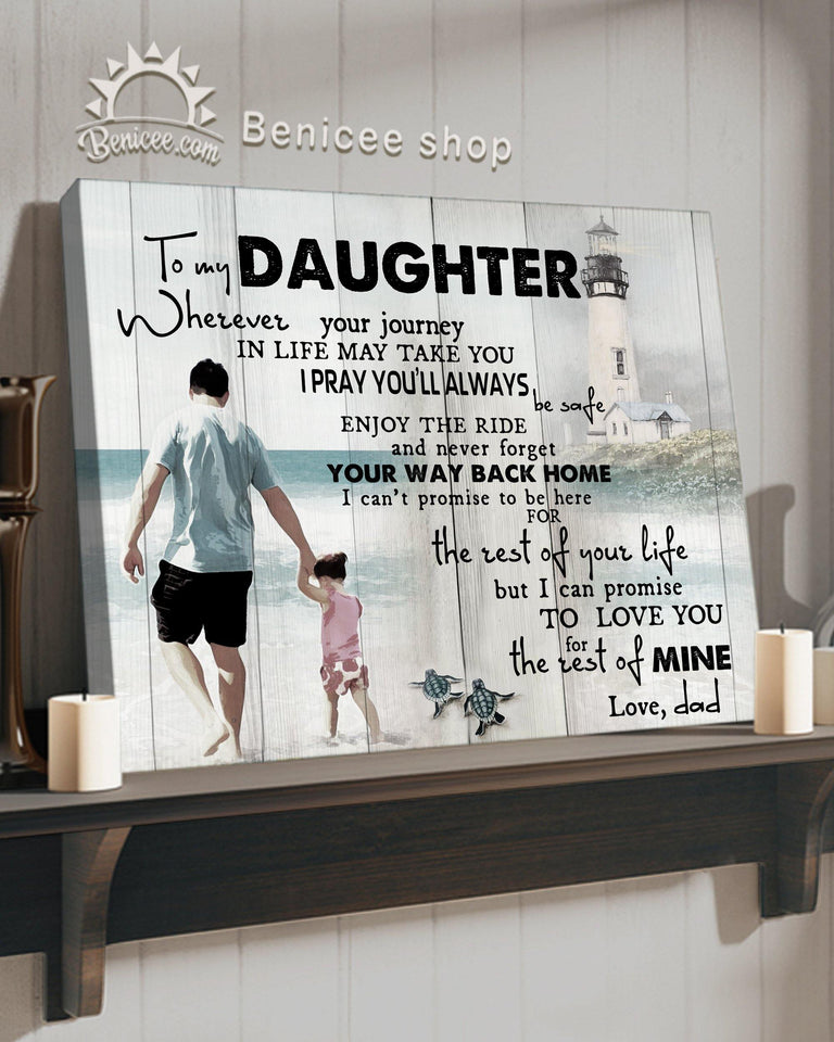 BENICEE Top 1 Gifts For Daughter From Dad Wall Art Canvas - Wherever Your Journey In Life May Take You-Canvas Print-Benicee