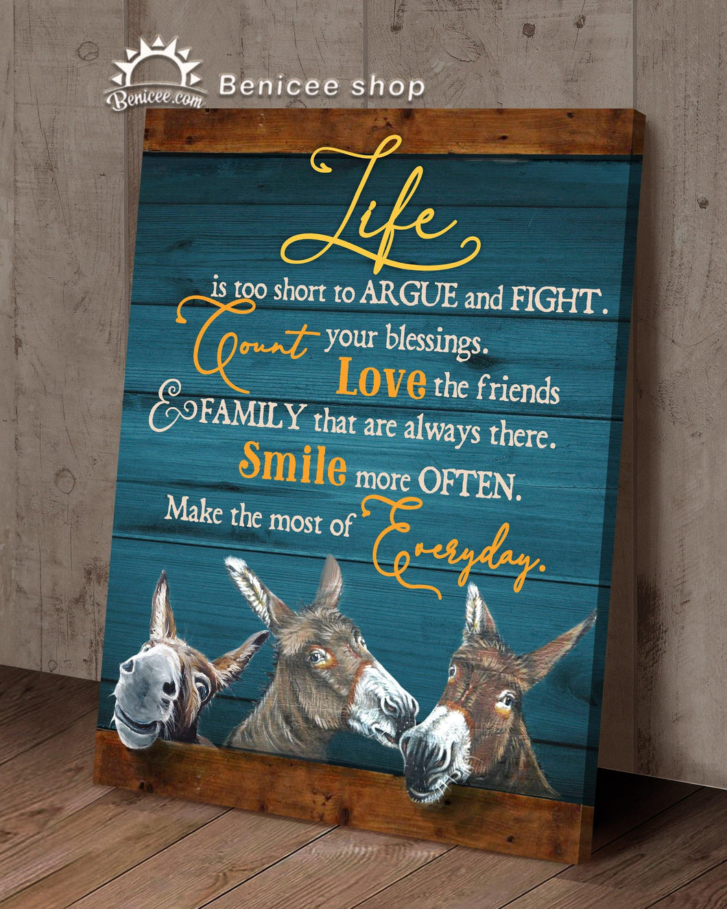 BENICEE Top 3 Country Living Canvas Decor - Life is too short to argue and fight Wall Art Canvas Donkey-Canvas Print-Benicee