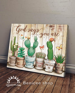BENICEE Hippie Cactus God says you are Wall Art Canvas-canvas-Benicee