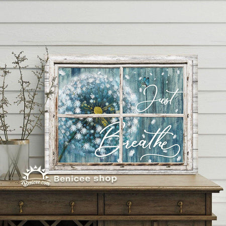 BENICEE Hippie Decor Wall Art Fake Window Style Just Breathe Top 10 Dandelion Canvas