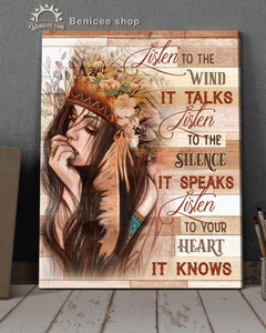 BENICEE Top 3 Hippie Flower Canvas Decor - Listen to your heart It Knows Wall Art Canvas Native American-Canvas Print-Benicee