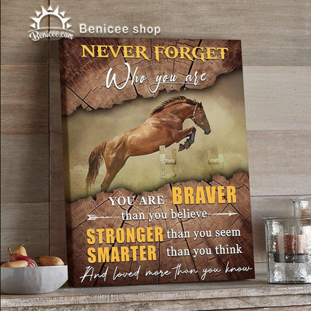BENICEE Horse Motivation Wall Art Canvas Never Forget Who You Are Top 10 Home Decor-Canvas Print-Benicee